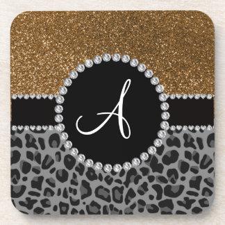 Monogram black leopard gold glitter coaster