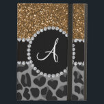 """Monogram black leopard gold glitter iPad air case<br><div class=""""desc"""">Girly Leopard gift ideas. Chic and trendy Monogram gold glitter (faux not real glitter) design and black leopard (animal print) with girly black diamond encrusted circle (faux not real diamonds) and bling pretty black diamonds stripe ( not real diamonds) dots and hearts and monogram gifts or your initials, letter change...</div>"""