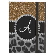 Monogram black leopard gold glitter iPad air case