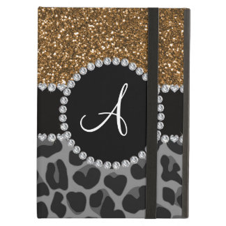 Monogram black leopard gold glitter case for iPad air