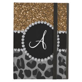 Monogram black leopard gold glitter case for iPad air