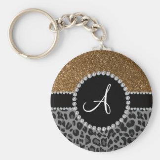 Monogram black leopard gold glitter keychain