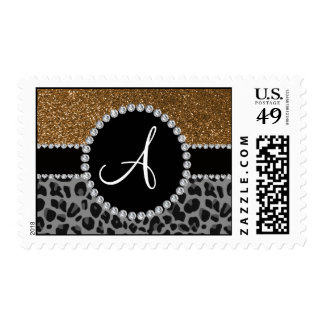 Monogram black leopard gold glitter stamps
