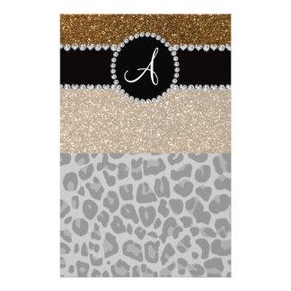 Monogram black leopard gold glitter stationery paper
