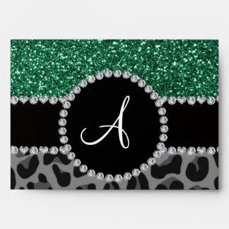 Monogram black leopard mint green glitter envelopes