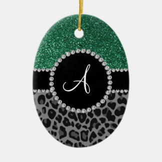 Monogram black leopard mint green glitter Double-Sided oval ceramic christmas ornament