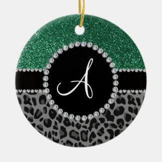 Monogram black leopard mint green glitter Double-Sided ceramic round christmas ornament