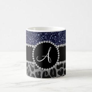 Monogram black leopard navy blue glitter coffee mug