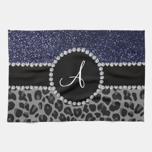 Monogram Black Leopard Navy Blue Glitter Hand Towels