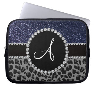 Monogram black leopard navy blue glitter laptop sleeve