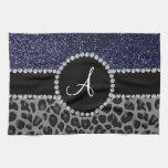 Monogram black leopard navy blue glitter towels