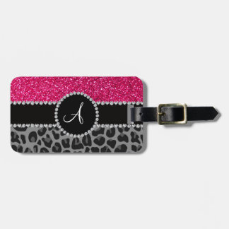 Monogram black leopard pink glitter luggage tag