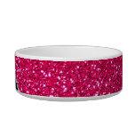 Monogram black leopard pink glitter pet bowl