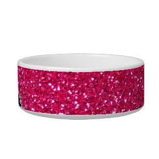 Monogram black leopard pink glitter pet food bowl