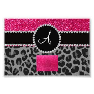Monogram black leopard pink glitter photo art