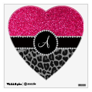 Monogram black leopard pink glitter wall decal