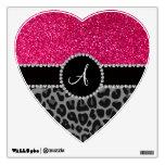 Monogram black leopard pink glitter wall skins