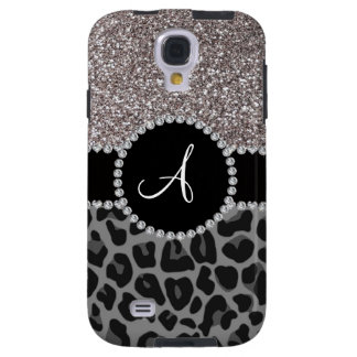 Monogram black leopard silver glitter