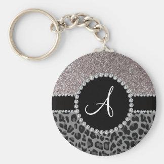 Monogram black leopard silver glitter basic round button keychain