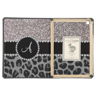 Monogram black leopard silver glitter iPad air cases