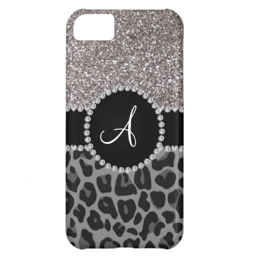 Monogram black leopard silver glitter iPhone 5C case