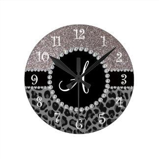 Monogram black leopard silver glitter round wallclocks