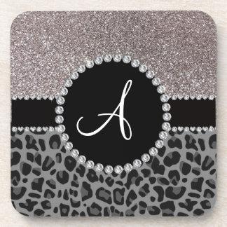 Monogram black leopard silver glitter beverage coasters