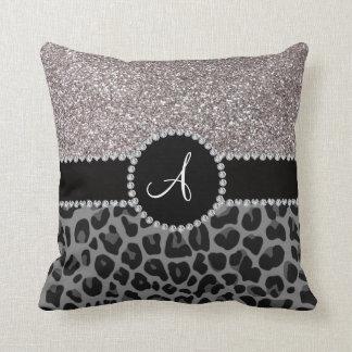 Monogram black leopard silver glitter throw pillow