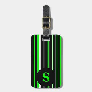 Monogram Black, Lime Green, Barcode Circle Stripe Luggage Tag