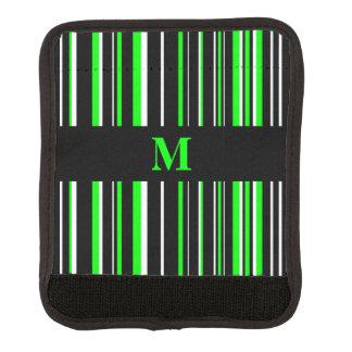 Monogram Black, Lime Green, White Barcode Stripe Luggage Handle Wrap