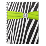 Monogram Black Lime White Zebra Striped Notebook