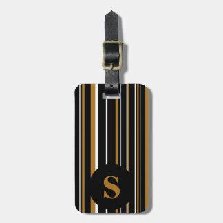 Monogram Black, Matte Gold, Barcode Circle Stripe Bag Tag