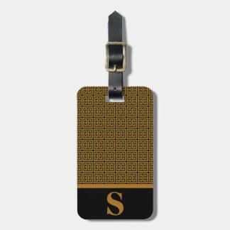 Monogram Black/Matte Gold Greek Key Fret Pattern Luggage Tags