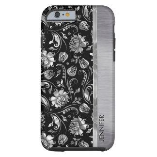 Monogram Black & Metallic Silver Floral Damasks Tough iPhone 6 Case