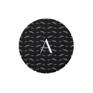 Monogram black mustache pattern jelly belly candy tin