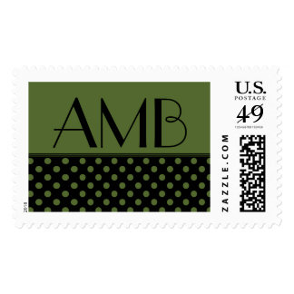 Monogram Black/Olive Green Polka Dot Postage