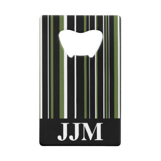 Monogram Black, Olive Green, White Barcode Stripe Credit Card Bottle Opener