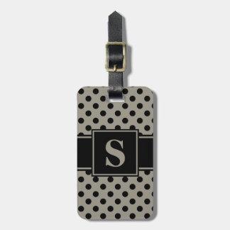 Monogram Black on Aluminum Silver Gray Polka Dot Luggage Tag