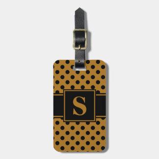 Monogram Black on Matte Gold Polka Dot Travel Bag Tags