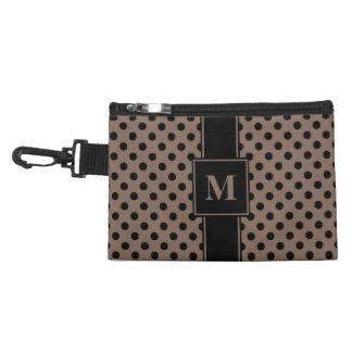 Monogram Black on Taupe Brown Polka Dots Accessory Bag