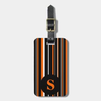 Monogram Black, Orange, Barcode Circle Stripe Bag Tag