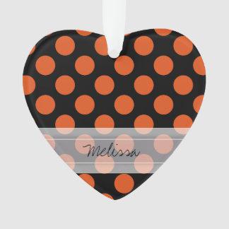 Monogram Black Orange Chic Polka Dot Pattern