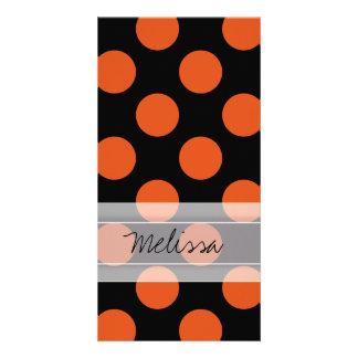 Monogram Black Orange Chic Polka Dot Pattern Card