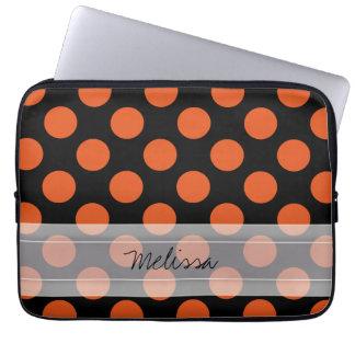 Monogram Black Orange Chic Polka Dot Pattern Laptop Computer Sleeves