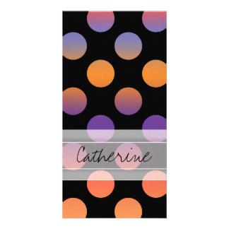 Monogram Black Orange Purple Red Polka Dot Pattern Card