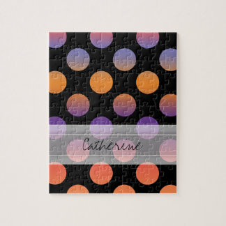 Monogram Black Orange Purple Red Polka Dot Pattern Jigsaw Puzzle