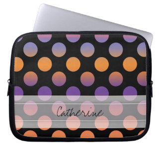 Monogram Black Orange Purple Red Polka Dot Pattern Laptop Computer Sleeves