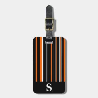 Monogram Black, Orange, White Barcode Stripe Tag For Bags