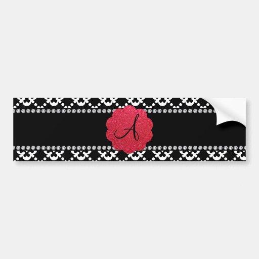 Monogram black ornamental hearts bumper sticker