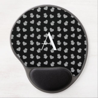 Monogram black owls and hearts gel mouse mats